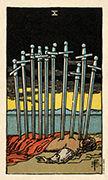 Ten of Swords Tarot card in Smith Waite Centennial deck