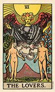 The Lovers Tarot card in Smith Waite Centennial deck