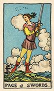 Page of Swords Tarot card in Smith Waite Centennial deck