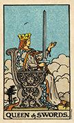 Queen of Swords Tarot card in Smith Waite Centennial deck