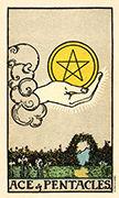 Ace of Coins Tarot card in Smith Waite Centennial deck
