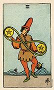 Two of Coins Tarot card in Smith Waite Centennial deck