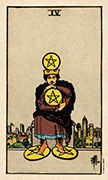 Four of Coins Tarot card in Smith Waite Centennial deck