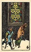 Five of Coins Tarot card in Smith Waite Centennial deck