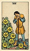 Seven of Coins Tarot card in Smith Waite Centennial deck