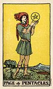 Page of Coins Tarot card in Smith Waite Centennial Tarot deck