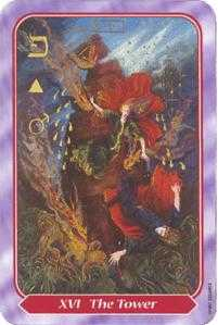 The Falling Tower Tarot Card - Spiral Tarot Deck