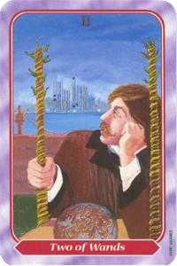 Two of Rods Tarot Card - Spiral Tarot Deck