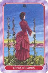 Three of Batons Tarot Card - Spiral Tarot Deck