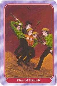 Five of Batons Tarot Card - Spiral Tarot Deck