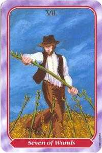 Seven of Rods Tarot Card - Spiral Tarot Deck