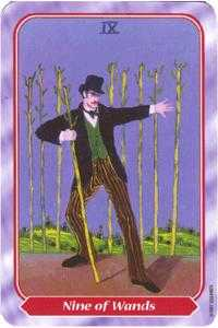 Nine of Batons Tarot Card - Spiral Tarot Deck