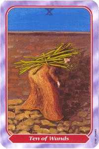 Ten of Staves Tarot Card - Spiral Tarot Deck