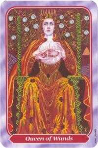 Queen of Batons Tarot Card - Spiral Tarot Deck