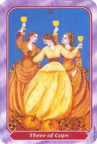 Three of Bowls Tarot Card - Spiral Tarot Deck