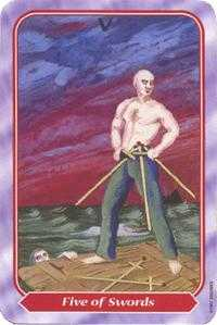 Five of Wind Tarot Card - Spiral Tarot Deck