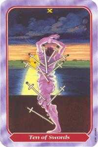 Ten of Swords Tarot Card - Spiral Tarot Deck