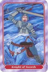 Knight of Spades Tarot Card - Spiral Tarot Deck