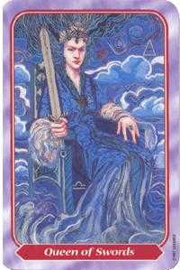 Queen of Swords Tarot Card - Spiral Tarot Deck