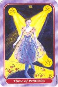 Three of Discs Tarot Card - Spiral Tarot Deck