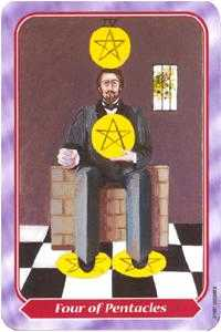 Four of Discs Tarot Card - Spiral Tarot Deck