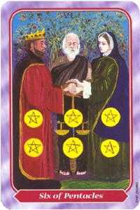 Six of Coins Tarot Card - Spiral Tarot Deck