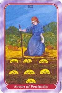 Seven of Pentacles Tarot Card - Spiral Tarot Deck