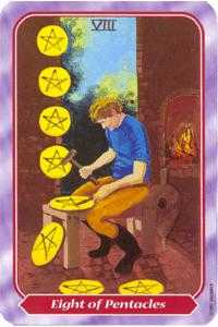 Eight of Discs Tarot Card - Spiral Tarot Deck