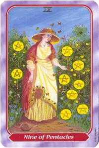 Nine of Pentacles Tarot Card - Spiral Tarot Deck