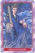 Queen of Swords Tarot card in Spiral deck