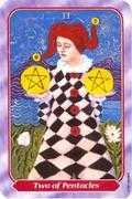 Two of Pentacles Tarot card in Spiral Tarot deck