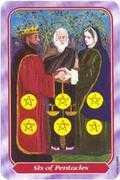 Six of Pentacles Tarot card in Spiral Tarot deck