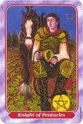 Knight of Pentacles Tarot card in Spiral Tarot deck