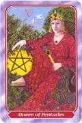 Queen of Pentacles Tarot card in Spiral deck