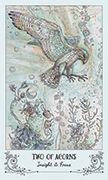 Two of Acorns Tarot card in Spiritsong deck