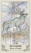 Six of Acorns Tarot card in Spiritsong deck