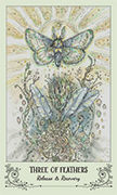 Three of Feathers Tarot card in Spiritsong deck