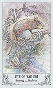 Five of Feathers Tarot card in Spiritsong deck