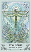 Six of Feathers Tarot card in Spiritsong deck