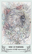 Nine of Feathers Tarot card in Spiritsong deck