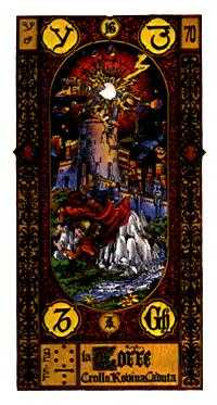 The Falling Tower Tarot Card - Stairs Tarot Deck