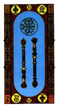 Two of Staves Tarot Card - Stairs Tarot Deck