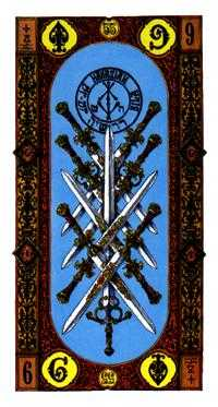 Nine of Arrows Tarot Card - Stairs Tarot Deck