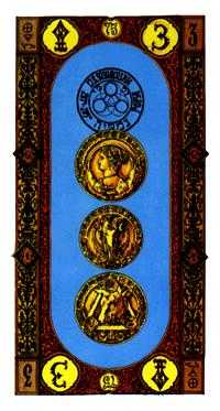 Three of Discs Tarot Card - Stairs Tarot Deck