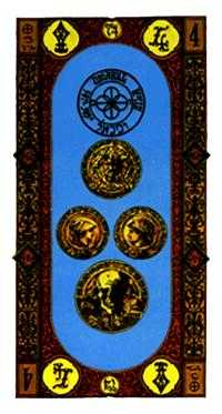 Four of Coins Tarot Card - Stairs Tarot Deck