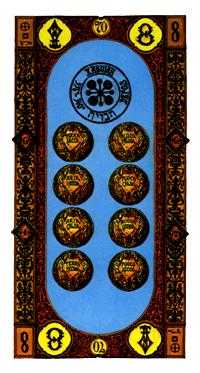 Eight of Coins Tarot Card - Stairs Tarot Deck