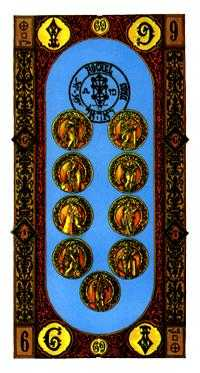 Nine of Coins Tarot Card - Stairs Tarot Deck