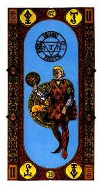 Slave of Pentacles Tarot Card - Stairs Tarot Deck