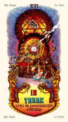 The Falling Tower Tarot Card - Stars Tarot Deck