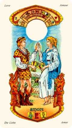 Two of Hearts Tarot Card - Stars Tarot Deck